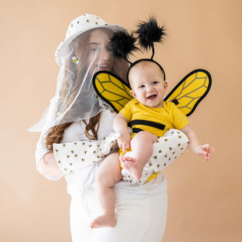mom and baby dressed as a beekeeper and honey bee for halloween using kyte pieces in Cloud and Pineapple