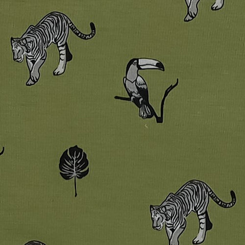 Jungle Print Swatch featuring tiger, toucan, and monstera leaf