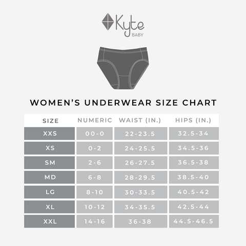 Size Chart for Women's Underwear