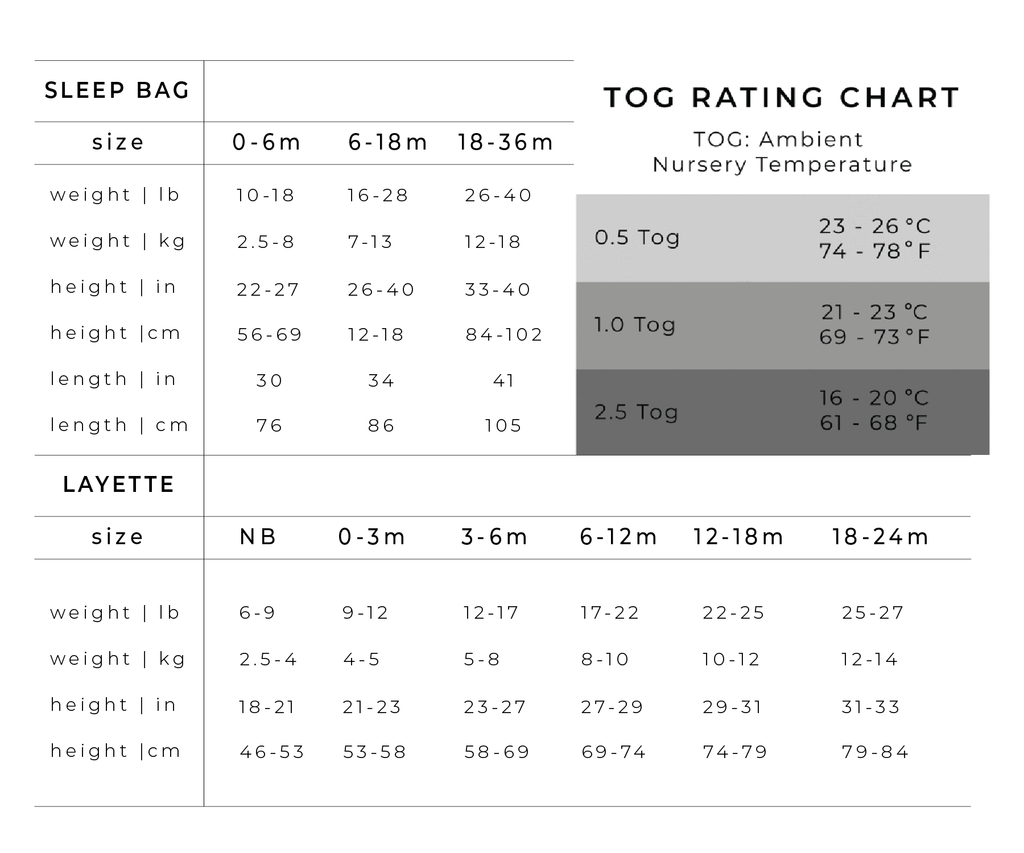 sleep bag sizing chart
