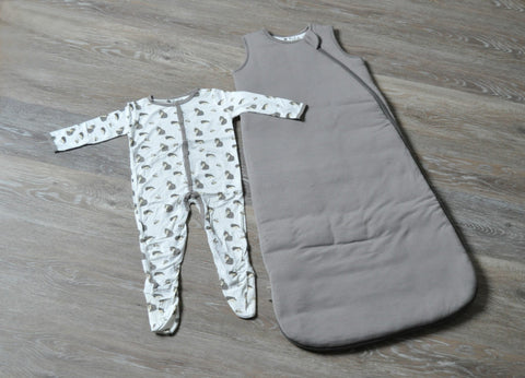 image of woodland footie and sleep bag