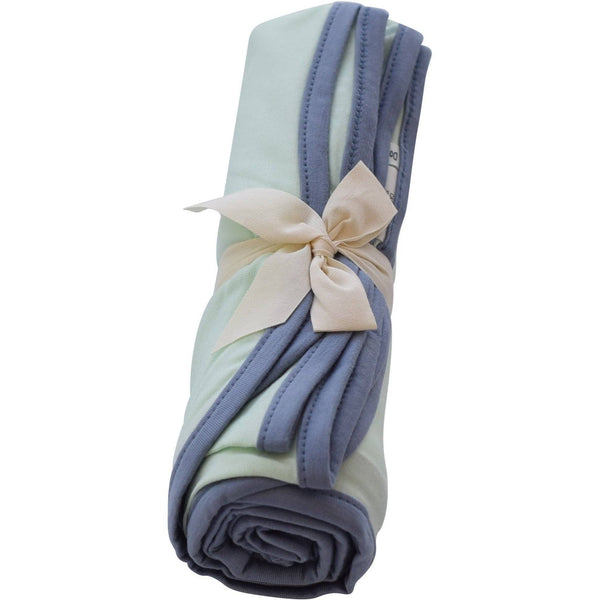 Swaddle Blanket in Mint with Slate Trim - Kyte BABY