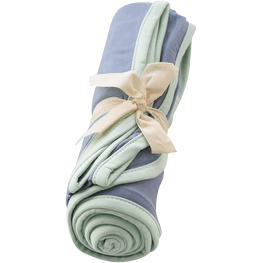 Swaddle Blanket in Slate with Mint Trim - Kyte BABY