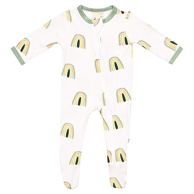Early Access Layette Printed Zippered Footie in Matcha Rainbow