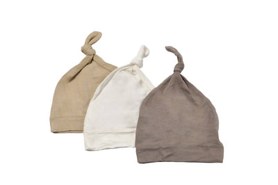 3-Pack Knotted Cap in Clay, Sand, and Cloud - Kyte Baby