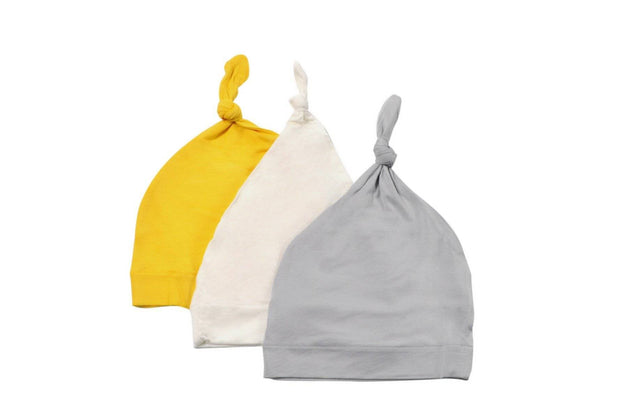 3-Pack Knotted Cap in Cloud, Storm, and Sunshine - Kyte Baby
