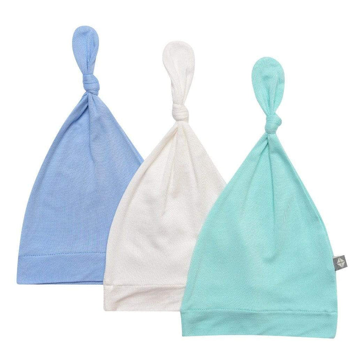 3-Pack Knotted Cap in Cloud, Aqua, and Sky - Kyte Baby