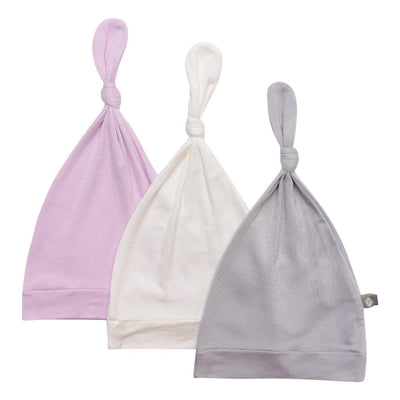 3-Pack Knotted Cap in Storm, Cloud, and Mauve - Kyte Baby