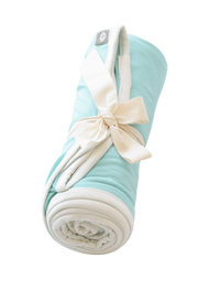 Swaddle Blanket in Aqua with Cloud Trim - Kyte Baby