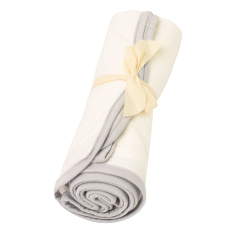 Kyte BABY Blanket Cloud with Storm Trim / Infant Swaddle Blanket in Cloud with Storm Trim