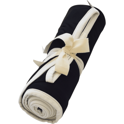 Kyte BABY Blanket Midnight with Cloud Trim / Infant Swaddle Blanket in Midnight with Cloud Trim