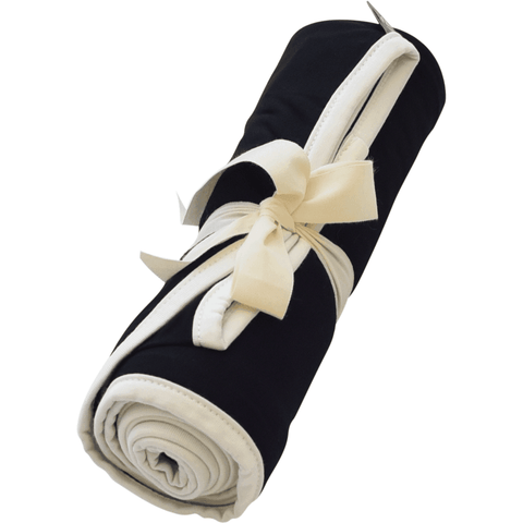 Swaddle Blanket in Midnight with Cloud Trim - Kyte Baby