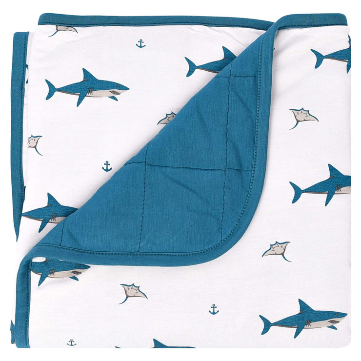 Printed Baby Blanket in Teal/Deep Sea - Kyte Baby