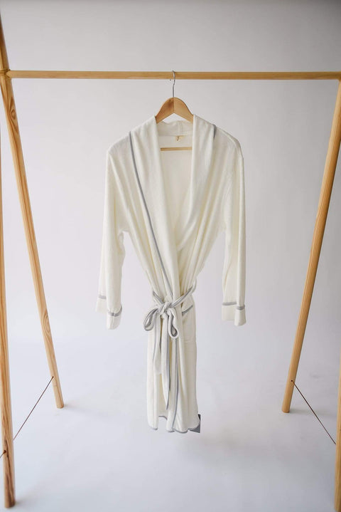 Adult Bath Robe in Cloud with Storm Trim - Kyte Baby