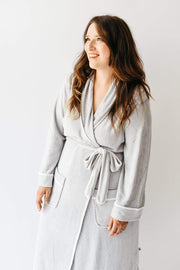 Adult Bath Robe in Storm with Cloud Trim - Kyte Baby