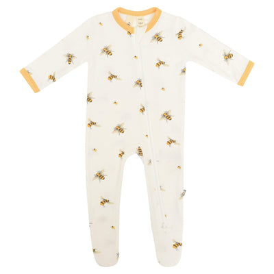 Printed Zippered Footie in Buzz - Kyte Baby