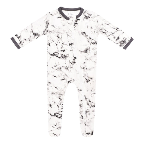 Kyte BABY Layette Charcoal Marble / Newborn Printed Zippered Footie in Charcoal Marble