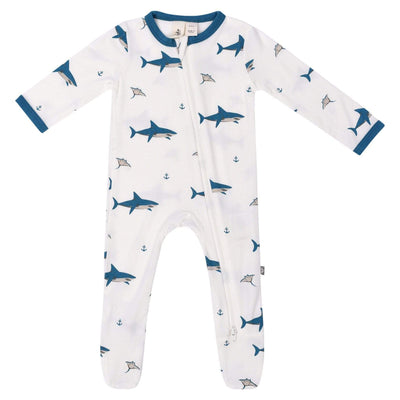 Kyte BABY Layette Deep Sea / Newborn Printed Zippered Footie in Deep Sea