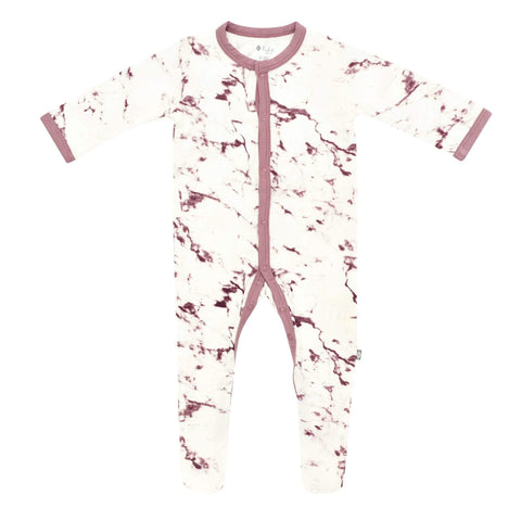 Kyte BABY Layette Mulberry Marble / Newborn Printed Footie in Mulberry Marble