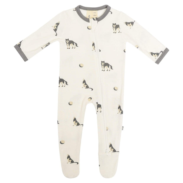 Kyte BABY Layette Printed Zippered Footie in Howl