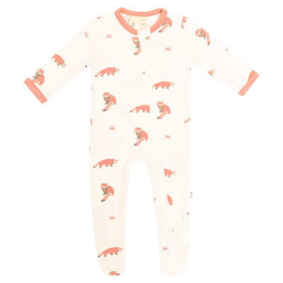 Printed Zippered Footie in Red panda - Kyte Baby