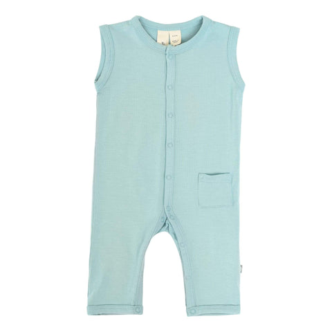 Sleeveless Romper in Seafoam - Kyte Baby
