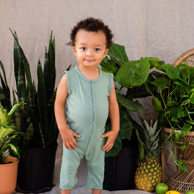 Kyte BABY Layette Sleeveless Romper in Matcha