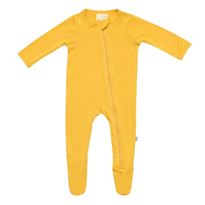 Zippered Footie in Mustard - Kyte Baby