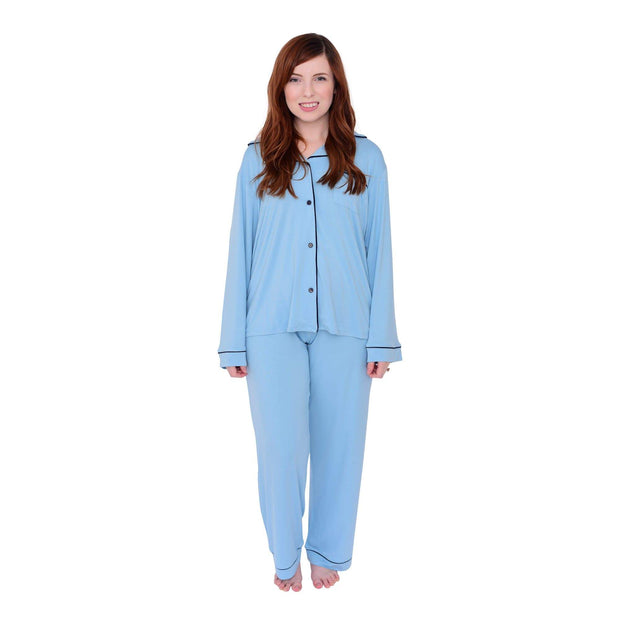 Women's Pajama Set in Azure with Navy Trim - Kyte Baby