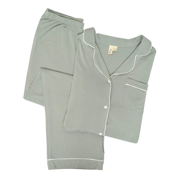 Women's Pajama Set in Moss with Cloud Trim - Kyte Baby