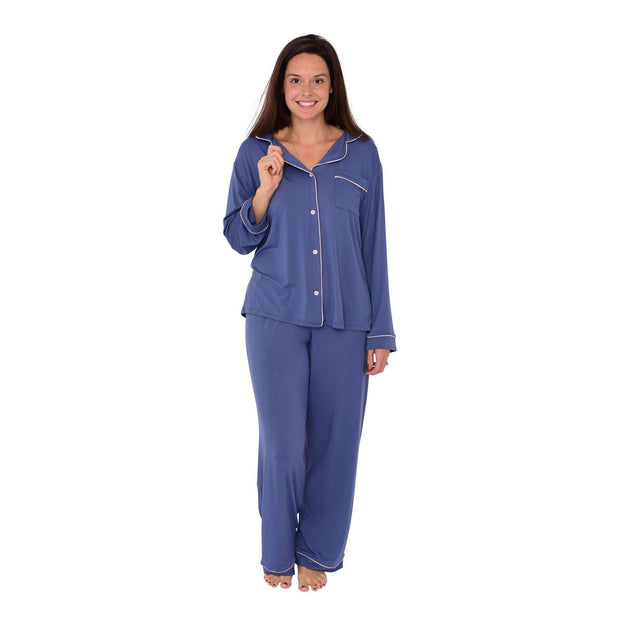 Women's Pajama Set in Steel with Blush Trim - Kyte Baby