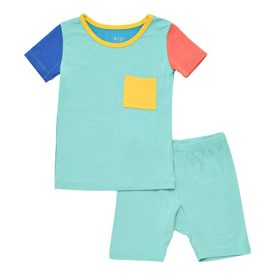 Kyte BABY Short Sleeve Toddler Pajama Set Short Sleeve Toddler Pajama Set in Pineapple Color Block LE