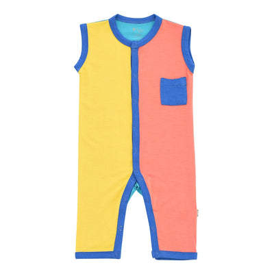Kyte BABY Sleeveless Romper Sleeveless Romper in Indigo Color Block LE