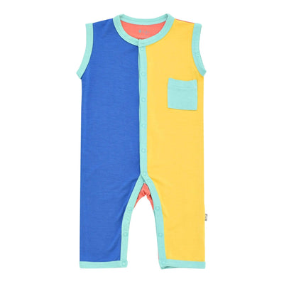 Kyte BABY Sleeveless Romper Sleeveless Romper in Jade Color Block LE