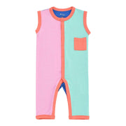 Kyte BABY Sleeveless Romper Sleeveless Romper in Melon Color Block LE