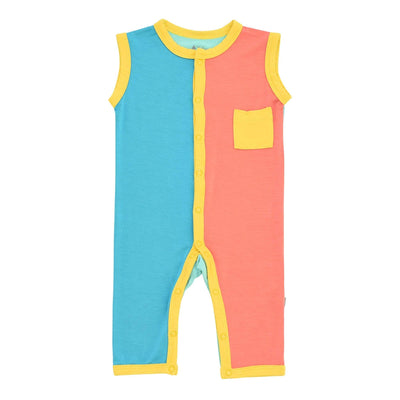 Kyte BABY Sleeveless Romper Sleeveless Romper in Pineapple Color Block LE