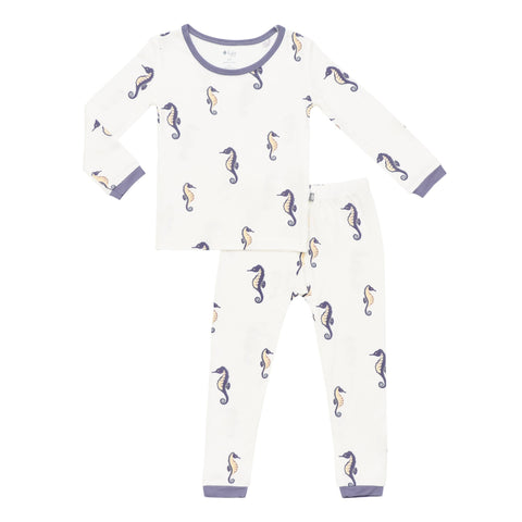 Kyte BABY Toddler Long Sleeve Pajamas Printed Toddler Pajama Set in Sea Horse