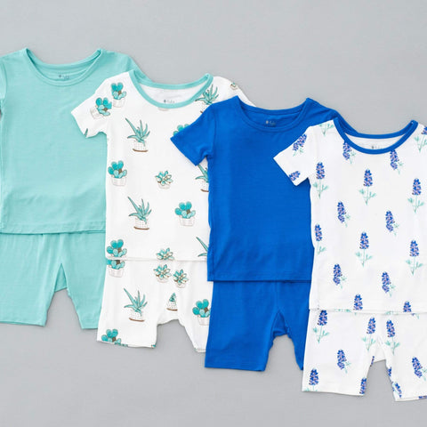 Kyte BABY Toddler Pajama Printed Short Sleeve Toddler Pajama Set in Bluebonnet