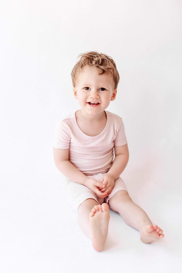 Kyte BABY Toddler Pajama Short Sleeve Toddler Pajama Set in Blush