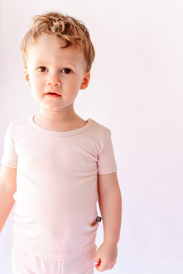 Short Sleeve Toddler Pajama Set in Blush - Kyte Baby