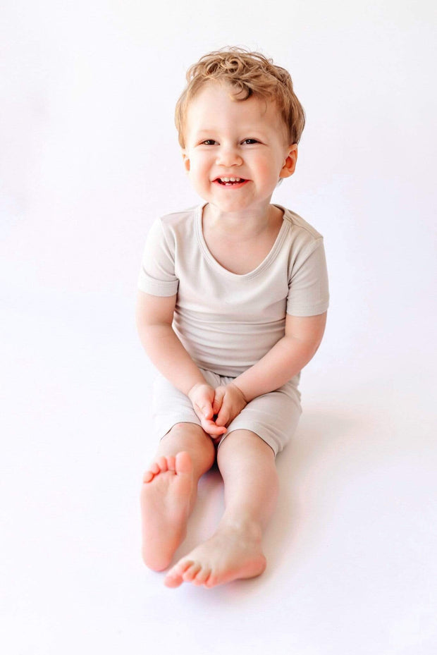Short Sleeve Toddler Pajama Set in Oat - Kyte Baby