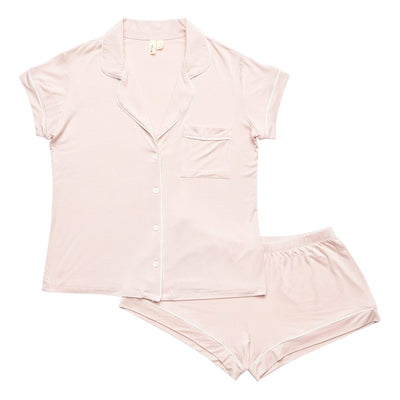 Women's Short Sleeve Pajama Set in Blush with Cloud Trim