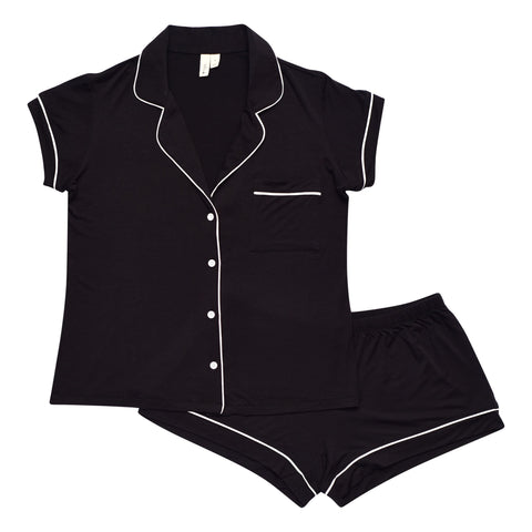 Women's Short Sleeve Pajama Set in Midnight with Cloud Trim