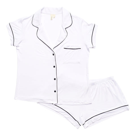 Women's Short Sleeve Pajama Set in Cloud with Midnight Trim