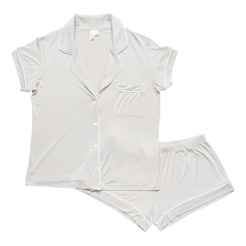 Women's Short Sleeve Pajama Set in Storm with Cloud Trim