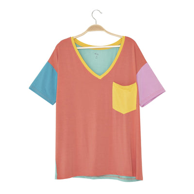 Kyte BABY Women's V-Neck Pineapple Color Block / XS Women's Relaxed Fit V-Neck Pineapple Color Block LE Collection
