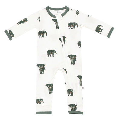 Kyte BABY Zippered Rompers Printed Zippered Romper in Elephant