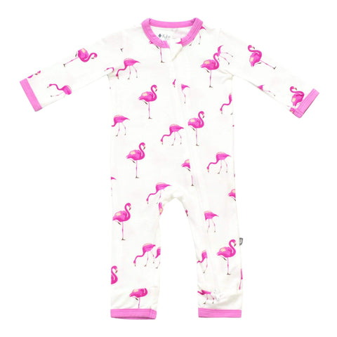 Kyte BABY Zippered Rompers Printed Zippered Romper in Flamingo