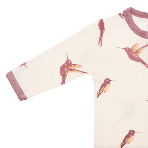 Kyte BABY Zippered Rompers Printed Zippered Romper in Hummingbird
