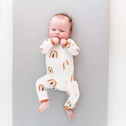 Kyte BABY Zippered Rompers Printed Zippered Romper in Spice Rainbow